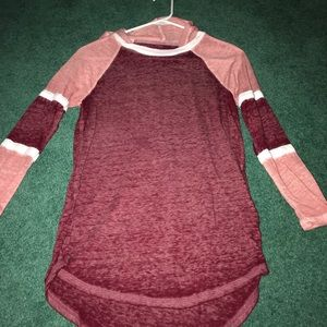 Light and dark pink and white long sleeve
